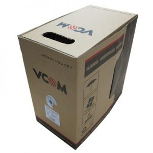 VCOM FTP CAT5e 4 Pairs Solid 305m Grey Reel Box